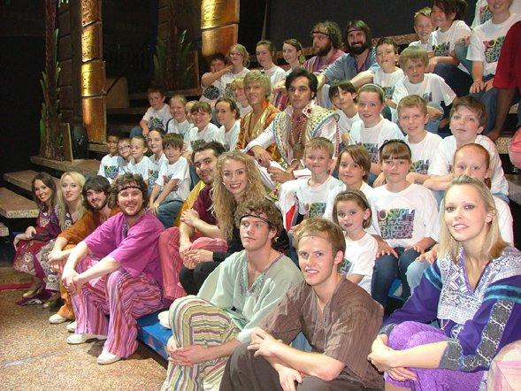Michael Hall Theatre School singers with the Bill Kenwright Ltd Joseph cast .